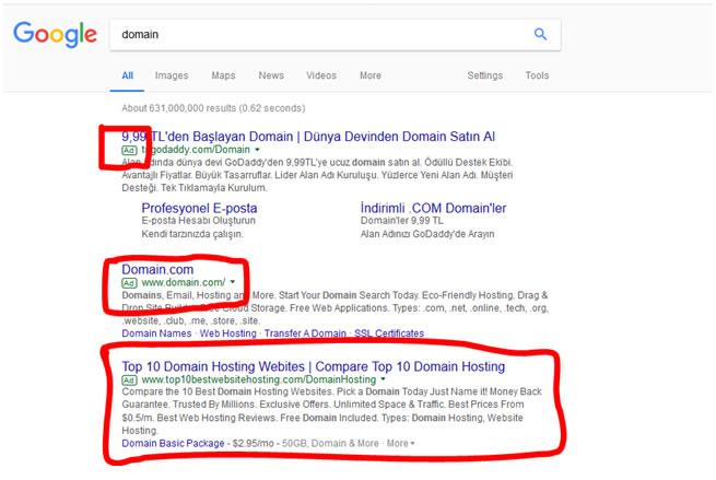 Google Arama Sonuçları Reklamlar