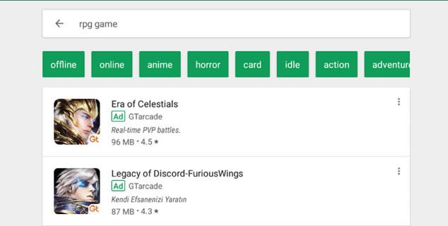 Google Play Store Aramalarında çıkan reklamlar